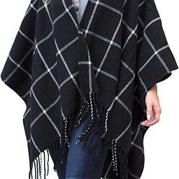 Daisy Del Sol Woven Knit Buffalo Plaid Checkered Wrap Oversized Blanket Sweater Poncho Ruana | Amazon (US)