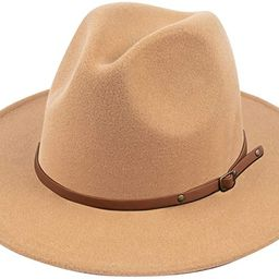 Lanzom Women Wide Brim Warm Wool Fedora Hat Retro Style Belt Panama Hat   Amazon (US)