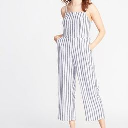 Striped Button-Front Linen-Blend Jumpsuit for Women | Old Navy | Old Navy (CA)