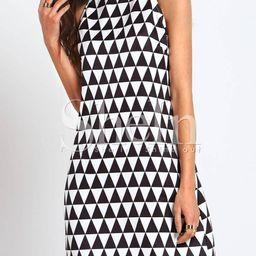 Black White Sleeveless Triangle Dress   SHEIN