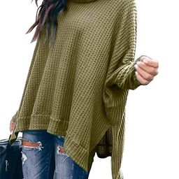 ANRABESS Women Turtlenck Batwing Sleeve High Low Hem Side Slit Waffle Knit Casual Loose Oversized...   Amazon (US)