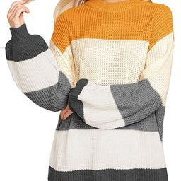 Imily Bela Womens Oversized Chunky Color Block Cable Knitted Crew Pullover Sweaters   Amazon (US)