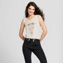 Women's Drapey Tie-Back Cow Skull Graphic Tank Top - Fifth Sun (Juniors') Ivory | Target