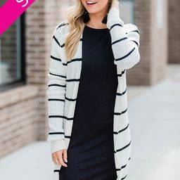 Neutral Territory White/Black Striped Duster Cardigan | The Pink Lily Boutique