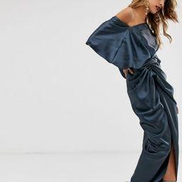 ASOS EDITION drape asymmetric maxi dress in satin | ASOS US