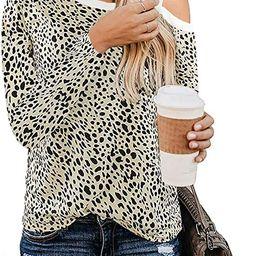 NSQTBA Womens Casual Long Sleeve Cute Shirts Leopard Print Tops Fashion Basic Tees S-2XL   Amazon (US)
