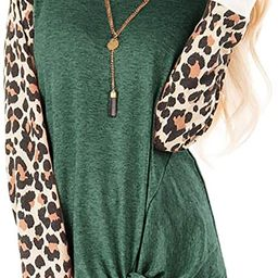 SHIBEVER Women's T Shirts Leopard Print Long Sleeve Tops Casual Cute Round Neck Side Twist Knot...   Amazon (US)