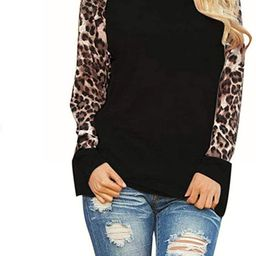 Gugio Women?s Long Sleeve Leopard Print Patchwork T-Shirt Blouse Tops   Amazon (US)