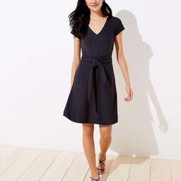Petite Striped Tie Waist Flare Pocket Dress | LOFT | LOFT