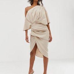 ASOS EDITION drape asymmetric linen midi dress | ASOS US