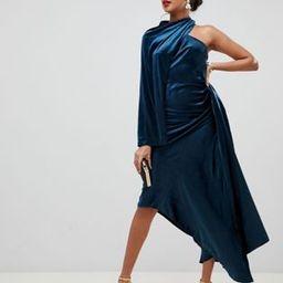 ASOS EDITION asymmetric drape dress in velvet | ASOS US