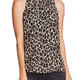 Sleeveless Pleat Leopard Print Blouse | Belk