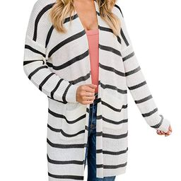 Women's Striped Cardigan with Pockets Lightweight Open Front Colorblock Loose Knit Sweaters | Amazon (US)