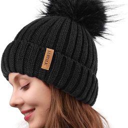 FURTALK Womens Knit Winter Beanie Hat Faux Fur Pom Pom Bobble Hat Beanie for Girls   Amazon (US)