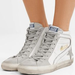 Slide distressed leather and suede high-top sneakers   Net-a-Porter (US)