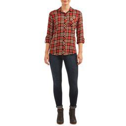 Women's Button Front Plaid Top   Walmart (US)
