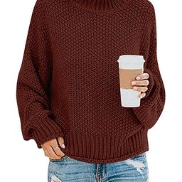 MILLCHIC Womens Turtleneck Sweaters Casual Baggy Batwing Long Sleeve Knitted Pullover Jumper Tops   Amazon (US)