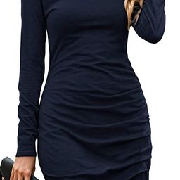 BTFBM Women Fashion Ruched Elegant Bodycon Long Sleeve Front Drawstring Solid Color Casual Basic ... | Amazon (US)