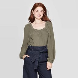 Women's Regular Long Sleeve Square Neck Top - A New Day™ | Target