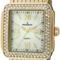 Peugeot Rectangle Deco Crystal Bezel Bracelet Dress Watch | Amazon (US)