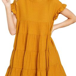 Joteisy Women's O Neck Ruffle Short Sleeve Tiered Casual Mini Dress | Amazon (US)