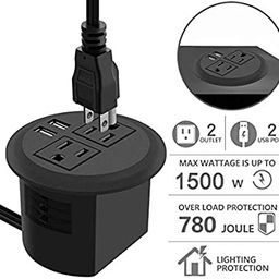 Desktop Power Grommet with USB,Recessed Power Socket with 2 AC Outlets and 2 USB Charging Ports. ... | Amazon (US)