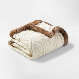 Cable Knit Throw Blanket with Mink Faux Fur Reverse and Faux Fur Trim - Threshold™ | Target