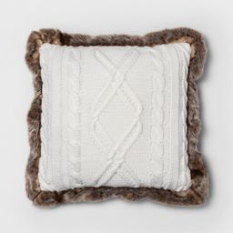 Knit With Faux Fur Reverse & Brown Fur Trim Square Throw Pillow Cream - Threshold™ | Target