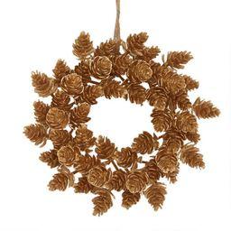 Mini Gold Faux Pinecone Wreath | World Market