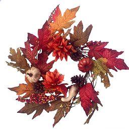 Autumn Treasures Fall Candle Ring Decorative Mini Wreath for Interior with Mini Pumpkins Gourds B... | Amazon (US)