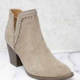 The Hazel Taupe Booties   The Pink Lily Boutique