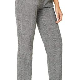SOLY HUX Women's Mid Waist Plaid Button Loose Pencil Pants Cropped Trousers | Amazon (US)