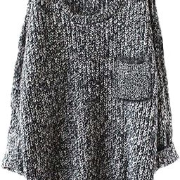 Women's Casual Unbalanced Crew Neck Knit Sweater Loose Pullover Cardigan | Amazon (US)