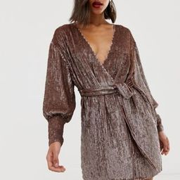 ASOS EDITION sequin wrap mini dress   ASOS US