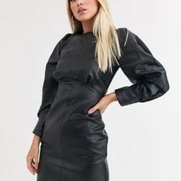 ASOS DESIGN leather look gathered shoulder mini dress | ASOS US