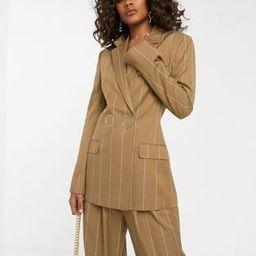 ASOS DESIGN Tall camel stripe suit blazer with popper fastening | ASOS US