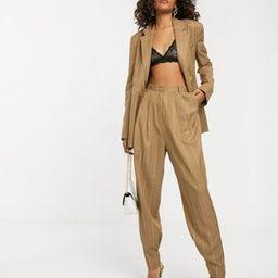 ASOS DESIGN Tall camel stripe mansy suit tapered pants | ASOS US