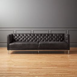 Savile Black Leather Tufted Sofa + Reviews | CB2 | CB2