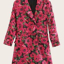Floral Notched Neck Belted Blazer Dress   SHEIN