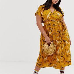 Influence Plus midi wrap dress in safari print   ASOS US