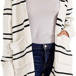 Ferbia Women Fleece Cardigan Striped Boyfriend Sweaters Long Sleeve Open Front Loose Knit with Po... | Amazon (US)