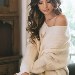 Hadley Cream Knit Pullover Sweater | Morning Lavender
