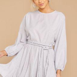 Set It Straight Grey Striped Dress | Red Dress