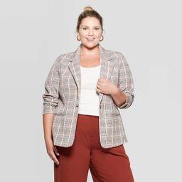 Women's Plus Size Plaid Blazer - Ava & Viv™ Brown | Target