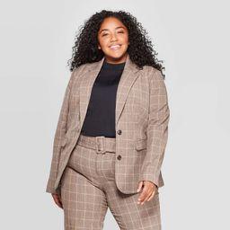 Women's Plus Size Plaid Bi-Stretch Twill Blazer - A New Day™ Brown | Target