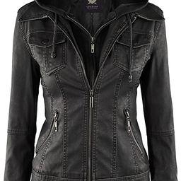 Women's Hooded Faux Leather Moto Biker Jacket (XS~2XL) | Amazon (US)