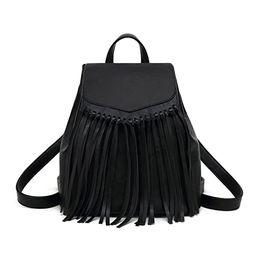Tassel PU Leather Backpack Vintage Women Fringe Tassel Daypack Casual Travel Hobo Bag | Amazon (US)