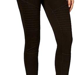 Women's Denim Moto Leggings, Black (Medium) | Amazon (US)