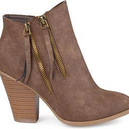 Brinley Co. Womens Faux Leather Stacked Wood Heel Double Zipper Booties   Amazon (US)