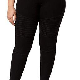 Solid Color Women's Plus Size Moto Denim Leggings | Amazon (US)